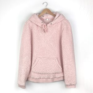 Pink Fluffy Teddy Sherpa Hoodie Pullover